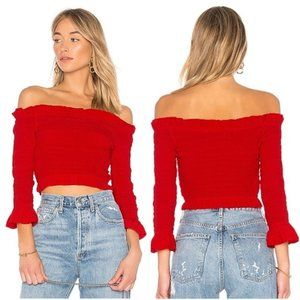 FOR MONIQUE LOVERS + FRIENDS RUCHED RED CROP TOP